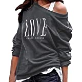 TianWlio Blusen Damen Brief Drucken Langarm Pullover Sweatshirts Lose Fit Tops Blusen Grau L