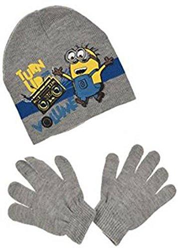 Minion Mütze & Handschuhe Set in verschiedenen Farben & Größen (HO4476) (52, Grau)