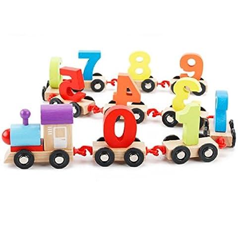 Bâtiments pour enfants Jouets Forme Train 2-7 ans Éducation précoce numérique pour enfants Tout-petits