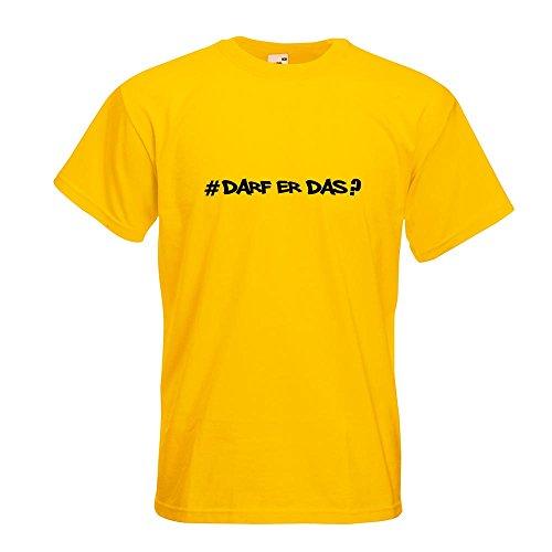 KIWISTAR - Darf Er Das - Hashtag T-Shirt in 15 verschiedenen Farben - Herren Funshirt bedruckt Design Sprüche Spruch Motive Oberteil Baumwolle Print Größe S M L XL XXL Gelb
