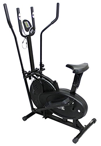 2 in 1 Exercise Bike And Cross Trainer With LCD Home Cardio Gym Workout Fitness