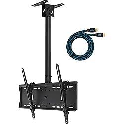 Cheetah Mounts APLCMB Supporto da Soffitto per TV da 32 a 65 Pollici Plasma LED, LCD; sostiene fino kg 74; Colore Nero; Comprende Cavo HDMI a Treccia Twisted Veins da 4,5 metri e Livella a Bolla