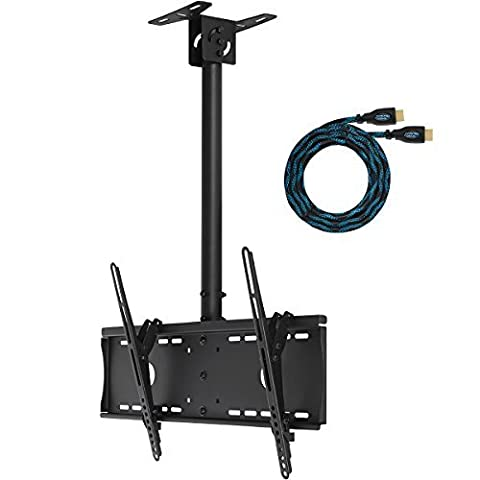 "Support de Plafond par Cheetah Mounts (APLCMB) Inclinable et Pivotant pour Ecran Plasma, LCD de 32"" à 65"" (80-165cm). 15 Degrés d'Inclinaison et une Rotation à 60 Degrés. 45cm Ajustable en Hauteur Supporte jusqu'à 74kg; il comprend un câble HDMI ""Twisted Veins"" de 4,5 mètres"
