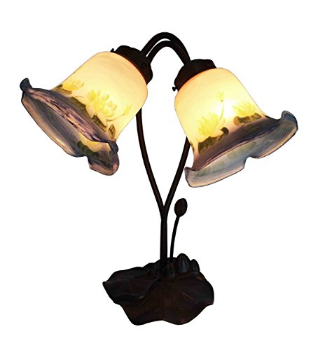 Tiffany Lilie (Tiffany Leuchte Lampe Jugendstil Lilien weiss 40cm)