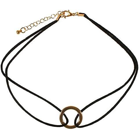 Collana Cavo In Camoscio Nero–di girocollo–Ciondolo Anello