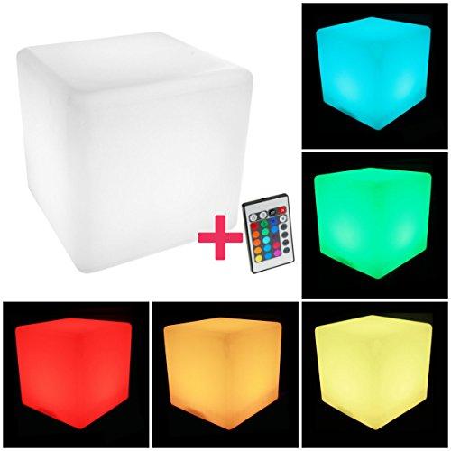 Helle Sitz (Kubus Helle LED Sitz Sitzsack Beistelltisch beleuchtet mit Licht 40 cm)