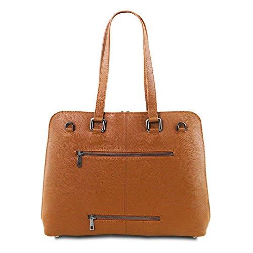 Tuscany Leather - Lucca - Borsa business TL SMART in pelle morbida per donna - TL141630 (Nero) Cognac