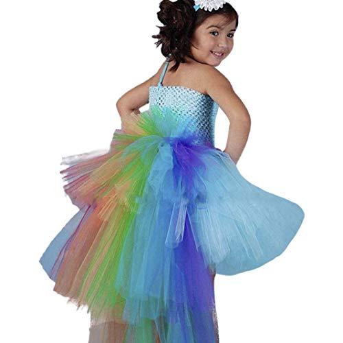(Hirolan Tutu Kleid Kind Ärmellos Regenbogen Schwanz Tutu Sling Prinzessin Kleider Säugling Mädchen Kinder Fee Schick Cosplay Kostüm Mode Chic Minikleid Partysets Rock (Blau, 90))