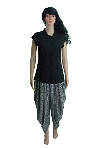 Shirt Top And Dhoti Ethnic Suits Set For Women – Cap Sleeve, Plackets, Pleated Black Shirt And Check Dhoti Pant...