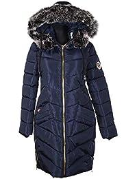 88958efad3c467 Style Damen XXL Fell Kapuze Winter Mantel Steppmantel Jacke warm gefüttert  Parka Ballon Mantel 36 38 40 42 44 46 48 50 S M L…