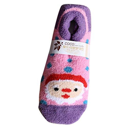 Malloom® Mode Kreative Weihnachten Mädchen Wildleder Socken Cute Unisex Anti-Rutsch weiche Breathable Warm Socken (lila) (Wildleder-boot Lila)