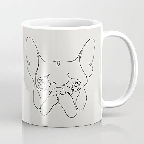 quadngaagd One Line Französische Bulldogge 11-ounce Kaffee Becher Tee Tasse Weiß (Shrek-kaffee-tasse)
