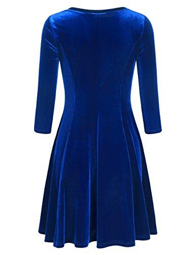Slivexy Damen Vintage 3/4 Arm Kleider Rundhals Falten A-Linie Samt Kleid Aquamarin