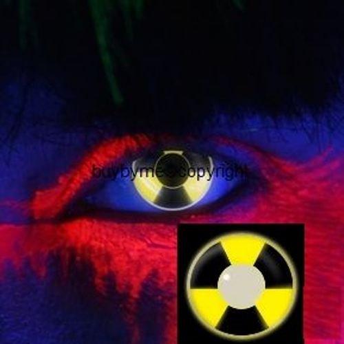 83020 Paar Kontaktlinsen UV leuchtend linsen farbig schwarz gelb Biohazard atom strahlung schwarzlicht halloween kostüme neu