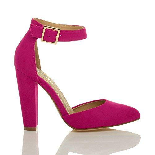 Femmes haute large talon boucle lanière pointu escarpins chaussures pointure Daim fushia rose