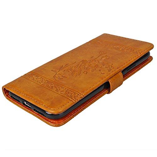 iPhone X Hülle, Asnlove Premium Leder Schutzhülle PU Leder Flip Tasche Case Book Style Retro Vintage Krokodilmuster Serie mit Integrierten Kartensteckplätzen und Ständer für Apple iPhone 10 / iPhone X Gelb