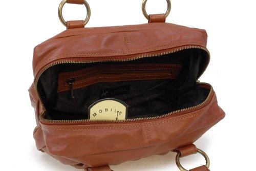 """Lederhandtasche """"Megan"""" von Catwalk Collection - GRÖßE: B: 29,5 H: 19,5 T: 12 cm Hellbraun"""