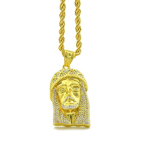 Lafeil Goldkette Herren Nickelfrei Herren Halskette Edelstahl Gold Gothic Kette Panzerkette Herren Anhänger Kette Vergoldet Retro Jesus Gold Halskette Hip Hop Ketten Kordelkette Lange 80 cm