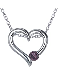 "Sterling Silver Garnet Heart Pendant (1/4 CT) With 18"" Chain"