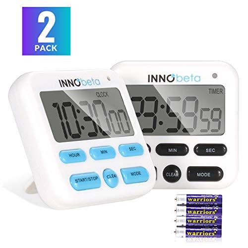InnoBeta Eieruhr Kurzzeitwecker küchenwecker Küchentimer Kurzzeitmesser zahnputzuhr Digital Magnetisch, Küchenuhr mit Countdown Timer Stoppuhr (2 Stück)