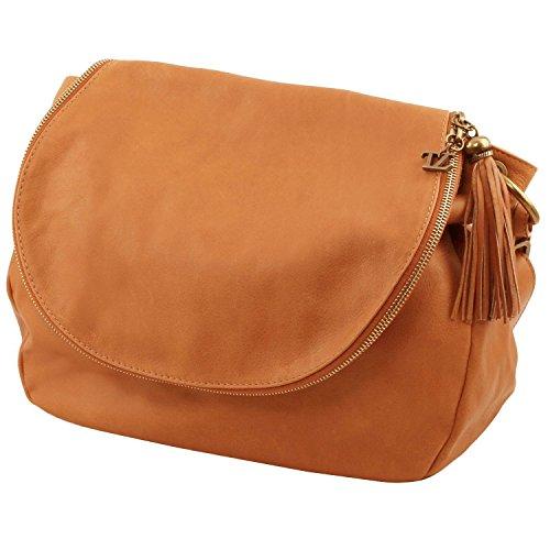 Tuscany Leather - TL Bag - Umhängetasche aus weichem Leder mit Quasten Rot - TL141110/4 Rot