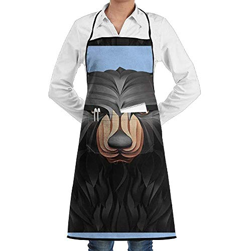 tgyew Black Bear Unisex Chef's Apron Deluxe Personalities Aprons -