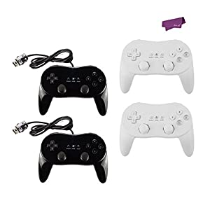 SalesLa 2x Pro Classic Joypad Wired Game Controller Remote for Nintendo Wii Wii U