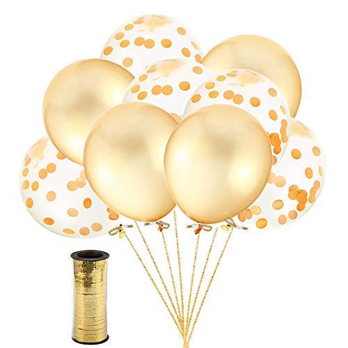 Zoll Gold Konfetti Ballon Premium Latex Glitter Ballons für Hochzeit und Geburtstag Party Dekorationen,Graduierung,Vorschlag, Hochzeiten, Geburtstage, Valentinstag (Gold) ()