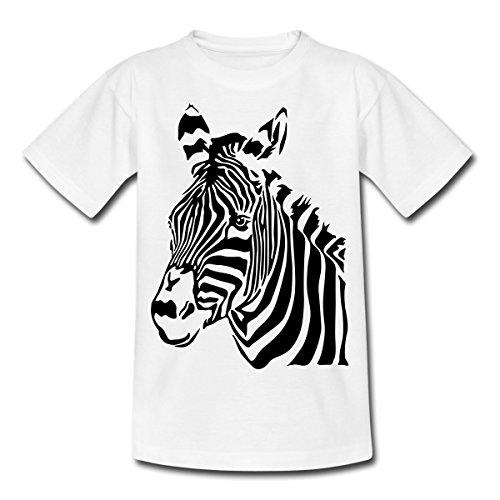 Spreadshirt Zebra Porträt Zebrakopf Kinder T-Shirt, 122/128 (7-8 Jahre), Weiß (Klassiker Schule Mädchen Kostüm)