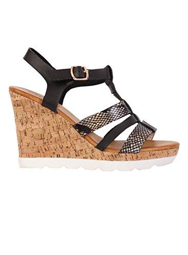 Cale en liège pour chaussures à talon ouvert Sangles sac à dos bandoulière été Sandales orteils Noir - noir