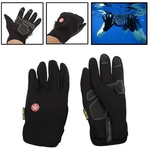 Suave y Cálida cortavientos imitación de cuero neopreno resistente al viento de buceo completo guantes dedo (Talla L)