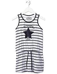 d23fa4616 losan Vestido niña de Rayas marineras con Estrella de Purpurina Azul