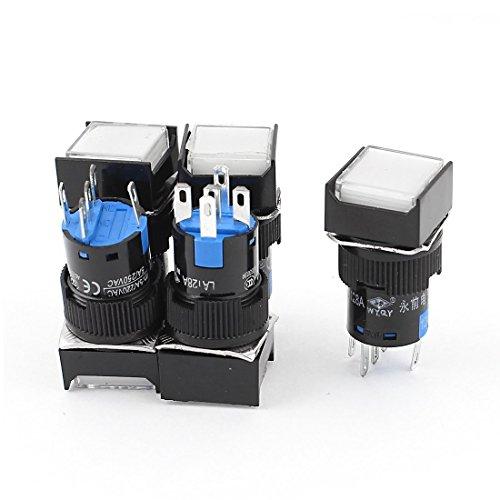 Schiebe-quadrat (Quadrat Taste Schalter - TOOGOO(R) 5 Stueck Weisse Quadratische Kappe DC 12V Licht 1P2T 5 Pins Druckknopfschalter)