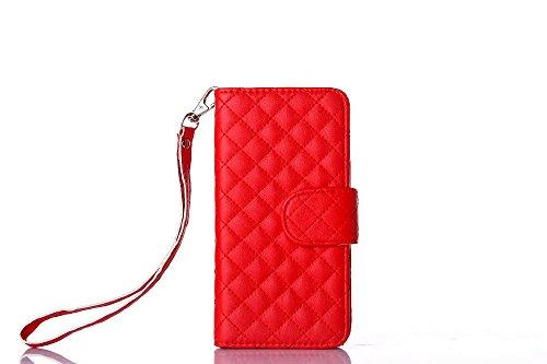 Für Samsung Galaxy S6 Edge hülle, iNenk® PU Leder Telefon Shell Lamm-Gurt Gitter Muster Brieftasche Phone hülle Retro Karte Halfter Handyhülle Für Frauen-Rot (Lamm-gurt)