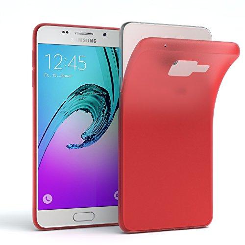 Samsung Galaxy A3 (2016) Hülle - EAZY CASE Ultra Slim Cover Handyhülle - dünne Schutzhülle aus Silikon in Transparent Matt Rot