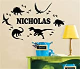 stickers muraux autocollant mural Empreinte de dinosaure Personnalisé Nom Personnalisé Décalque de Pépinière de Garçon pour chambre d'enfants Garçons