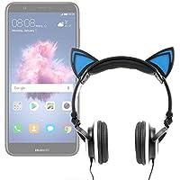 DURAGADGET Auriculares Plegables estéreo con diseño de Orejas de Gato en Color Negro para Smartphone Huawei