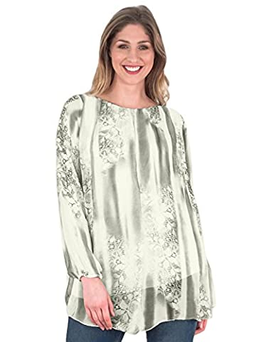 Ladies Womens Italian Lagenlook Quirky Long Sleeve Sequin Hem Bottom Printed Silk Tunic Top Blouse One Size Plus (One Size Plus, Ivory)