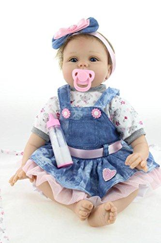 Nicery Reborn Baby-Puppe Weich Simulation Silikon Vinyl 22 Zoll 55 cm magnetisch Mund lebensechte Boy Girl Mädchen Spielzeug Blaue Blumen Herz -