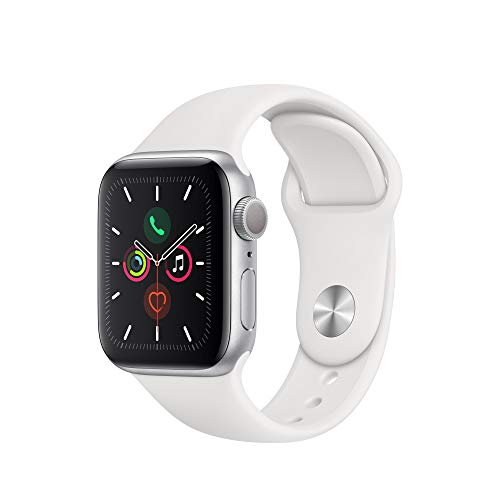Apple Watch Series 5 (GPS, 40 mm) Boîtier en Aluminium Argent - Bracelet Sport Blanc