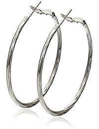 Pendientes aros blanco Oro plateado el mejor regalo para las mujeres y las muchachas (44mm) Borong