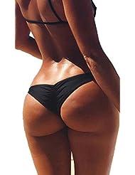 DODOING Damen Bikinislips Badehose Rüsche Design Badeanzüge G-String Bikini Tanga Bottom Bikinihose Tanga Unterwäsche Badeshorts Swimwear