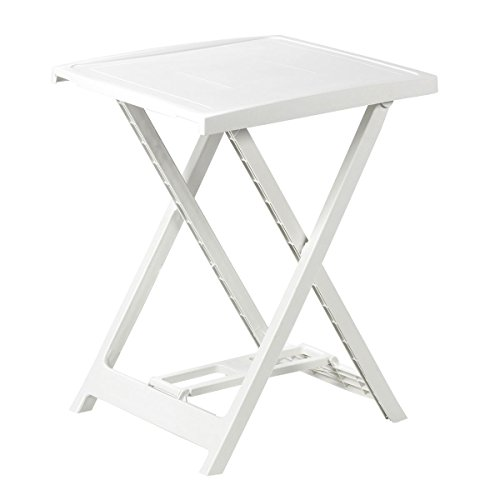 HEIPEI 417831 Tisch Arno, Gestell und Platte: Kunststoff, Größe ca. 50 x 50 cm, Höhe ca. 65 cm, weiß