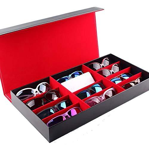 Wuxingqing Aufbewahrungsbox für Brillen Eyewear Organizer Display Aufbewahrungskoffer 12 Slots Sunglass Display Box (Color : Red, Size : Free Size)
