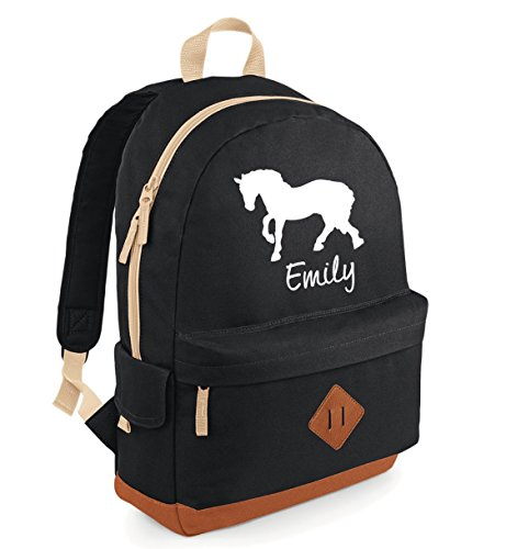 iLeisure HORSE with PERSONALISED NAME Boys/Girls Name/Club name on Bagbase Heritage Backpack