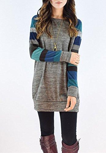 Femme Casual Rayures T-Shirt Court Robes Sweat-Shirts Top à Manche Longue Tee Shirt Sweats Pulls Coton Long Haut Gris1