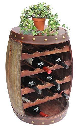 DanDiBo Weinregal Holz mit Ablage Weinfass 1546 Fass 70cm Flaschenregal Flaschenständer Weinständer Bar