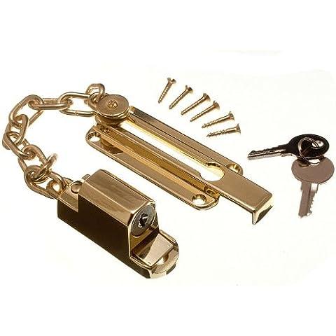 onestopdiycom - Cadena para puertas con cerrojo y cerradura (se incluyen tornillos)