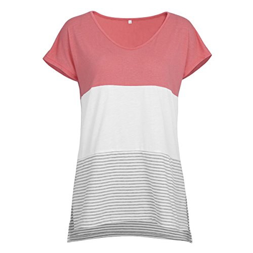 Einfarbiges T-Shirt mit Rundhalsausschnitt für Damen mit V-AusschnittNahtendes kurzärmeliges gestreiftes T-Shirt Damen Pink XXL