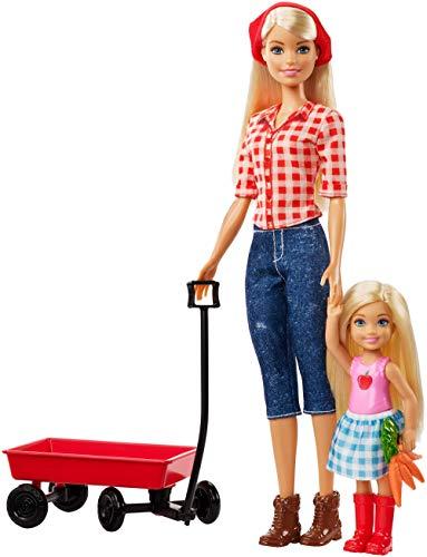 Chelsea-zubehör-set (Barbie GCK84 - Farm Barbie und Chelsea Puppe mit rotem Ziehwagen und Zubehör, Puppen und Puppenzubehör ab 3 Jahren)
